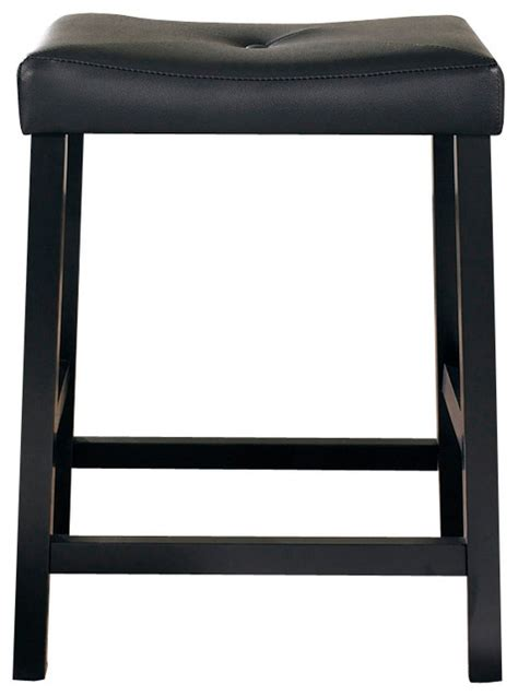 Upholstered Kitchen Counter Stools by Upholstered Saddle Seat Bar Stool Set Of 2 Black 24in