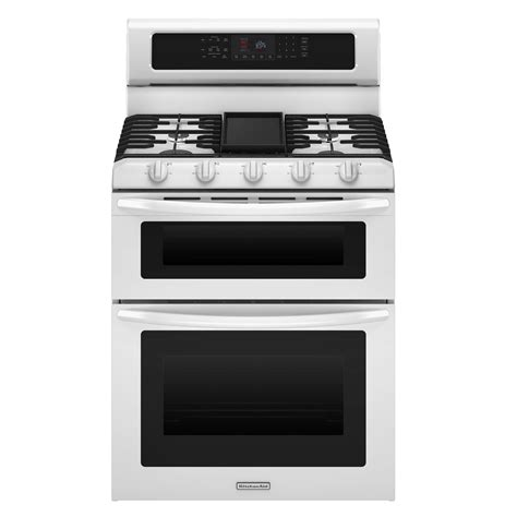 kitchenaid kgrs505xwh 6 cu ft double oven gas range