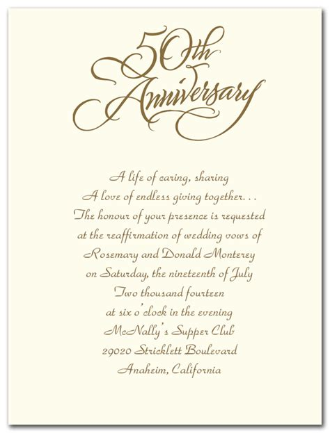 Invitation Letter Format For Wedding Anniversary Sle Invitation Letter For 50th Wedding Anniversary Wedding Invitation
