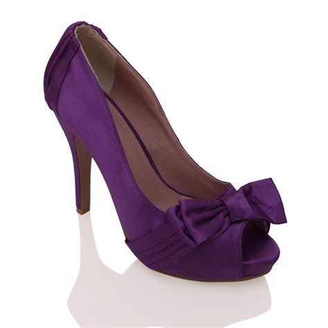 Nena High Heels N Co T 7cm t64 purple satin high heel platform peeptoe bow