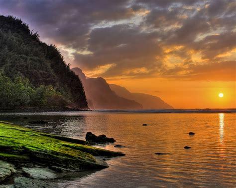 glorious sunset  kee beach north shore kauai hawaii