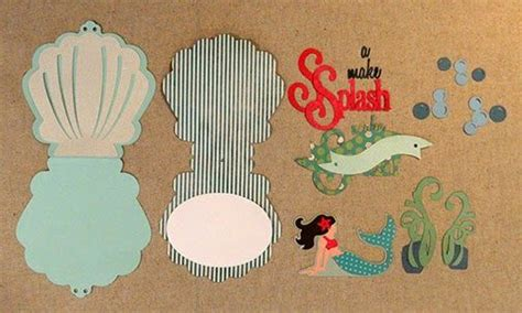 shellchaped card template mermaid pop up card silhouette cards