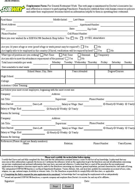 subway job application pdf whitneyport daily com