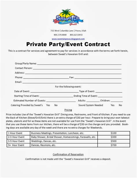 event rental contract template welcome to our sweet s event