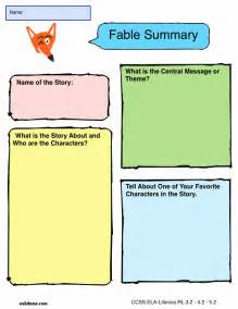Writing A Fable Template by Graphic Organizer Fable Summary K 5 Computer Lab