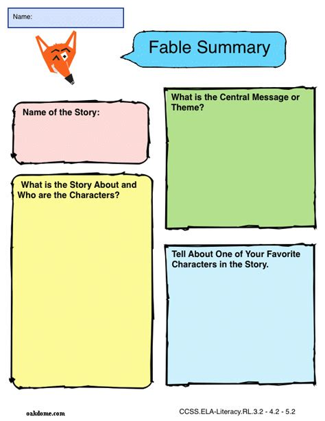 writing a fable template graphic organizer fable summary k 5 computer lab