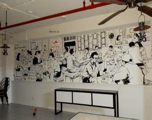 Wallpaper Dinding Hitam Putih Daun mural hitam putih untuk cafe dan resto membuat tilan