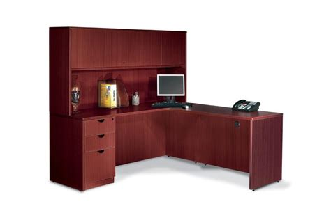 L Shaped Office Desk With Hutch Executive Laminate L Shape Office Desk With Hutch Ebay