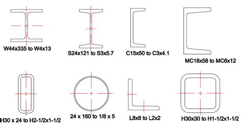 different types of steel sections steel shapes library for autocad 174 lt 174 the cad company