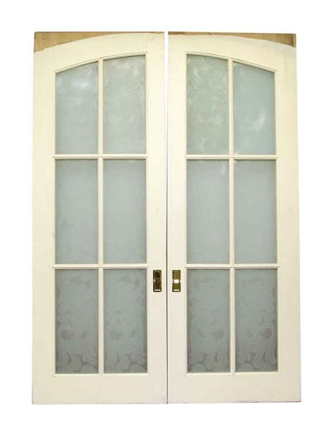 Wood Doors With Glass Panels Pair Of Pocket Wood Doors With Six Frosted Glass Panels Olde Things