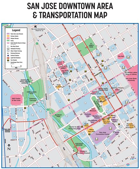 san jose map of california san jose downtown transport map