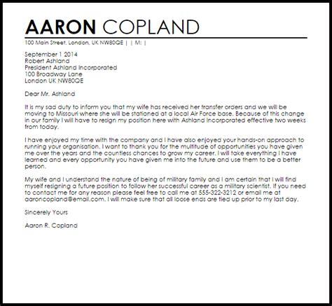 resignation letter due relocation spouse
