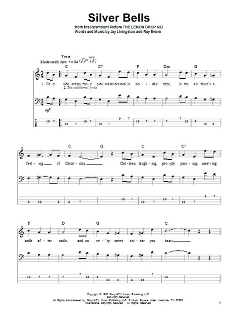 printable lyrics for silver bells silver bells bass guitar tab by jay livingston bass