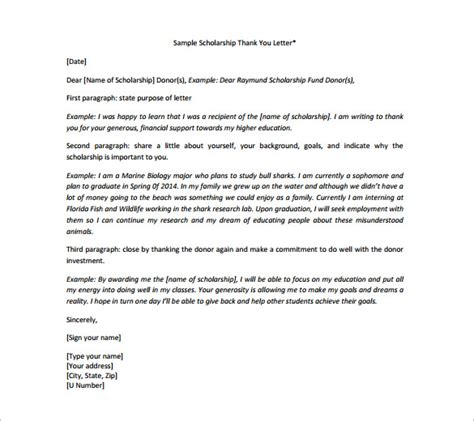 Thank You Letter Format Scholarship Scholarship Thank You Letter 8 Free Word Excel Pdf Format Free Premium Templates