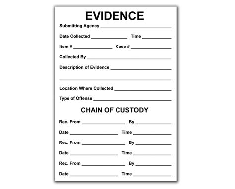 Evidence Bag Label Template