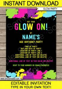 Neon Invitation Template by Neon Glow Invitations Template Editable And Printable