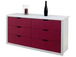 commode 6 tiroirs trix coloris framboise blanc