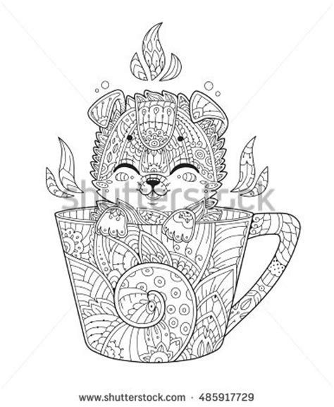 anti stress coloring pages animals puppy cup antistress coloring page stock vector