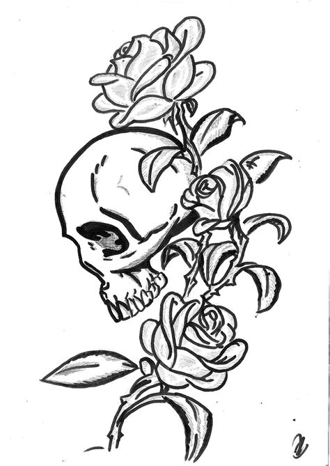 rose skull tattoo design by mokheir35 on deviantart