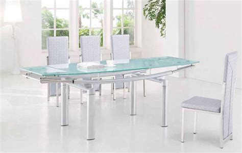 Extendable Glass Dining Table And Chairs Extendable Frosted Glass Top Leather Dining Furniture Set With Leaf Contemporary Dining