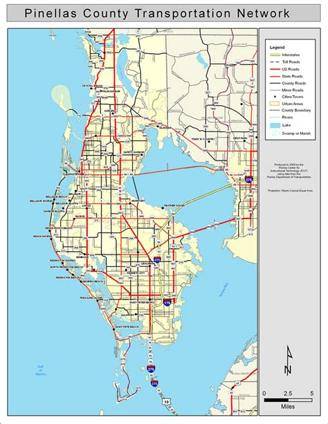 Pinellas County Florida Search Pinellas County Road Network Color 2009