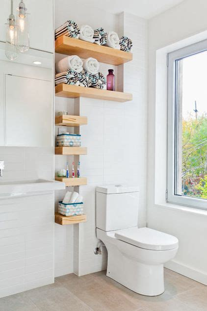 custom shelves for storage in a small bathroom