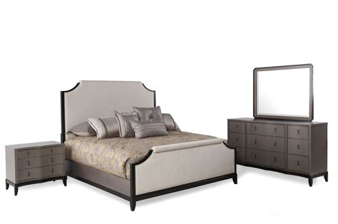 four piece contemporary bedroom set in platinum mathis