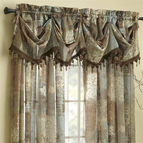at home curtains croscill madagascar sheer 84 quot curtain valance reviews