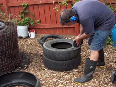 How To Cut Tires For Planters by Fish Pond From Tractor Or Car Tires