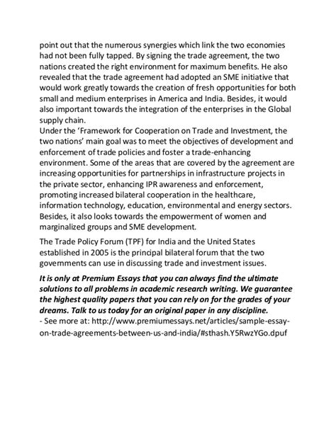 Agreement Letter For Thesis Sle Essay On Trade Agreements Between Us And India