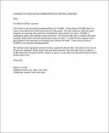 Sle Recommendation Letter From A Friend by Sle Letter Of Recommendation For A Friend 6 Exles In Word Pdf