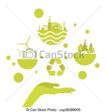 Open Palm Green Energy Concept Logo Flat Vector Illustration Vector Clipart Search Green Concept Logo Vectors