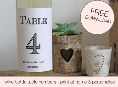 wedding wine bottle labels template free printable wedding table numbers stickers