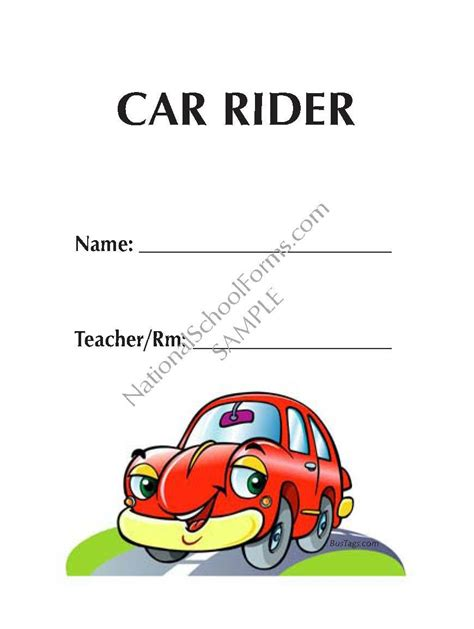 Bus Tags Standard Car Rider Tags Template