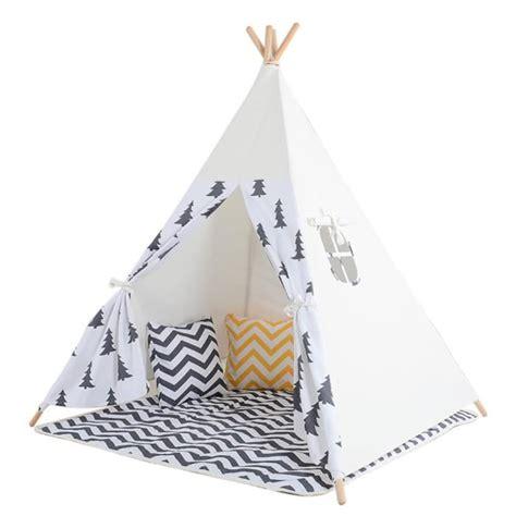 tent tipi pour enfant avec coton textile arbre noir