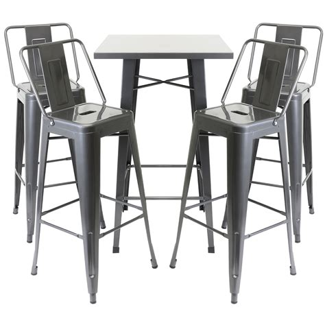 Gunmetal Bistro Chairs Hartleys Gunmetal Industrial Bistro Table 4 Bar Stools Chairs W Backrest Set