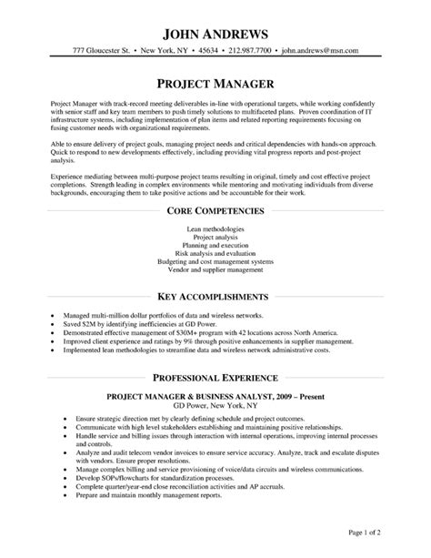 sle resume for project manager position sle competencies for resume 28 images resume sle