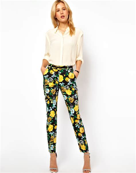 yellow patterned trousers asos collection asos trousers in floral print in yellow lyst