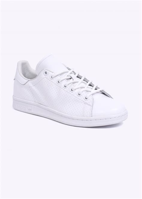 White Original adidas originals stan smith perforated leather trainers