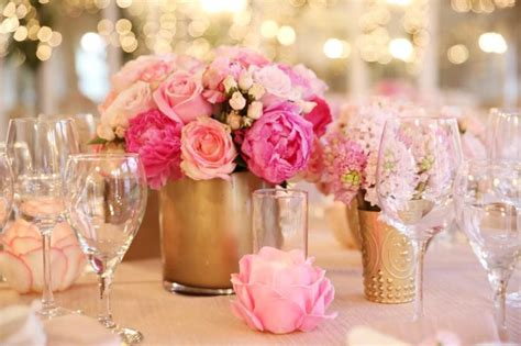 gold baby shower centerpiece pink photography