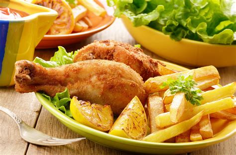 chicken meal in food food meal chicken fries salad vegetables delicious wallpaper 3840x2526 653426
