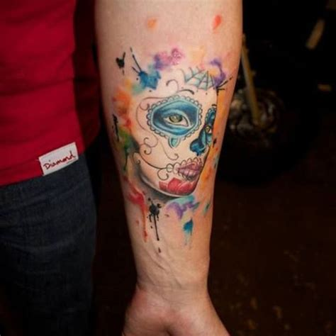 watercolor sugar skull tattoo watercolor sugar skull designs ideas and meaning