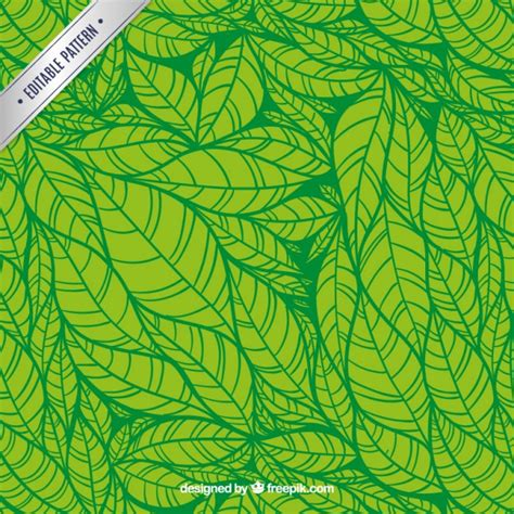 leaves pattern freepik green leaves hand drawn pattern vector free download
