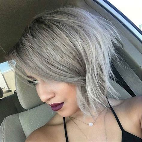 messy angled bob hair today hair tomorrow on pinterest gray hair silver