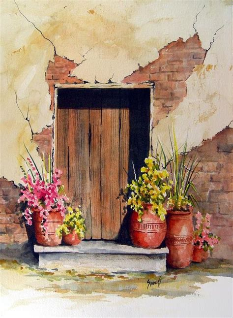 door with pots painting by sam sidders door with pots