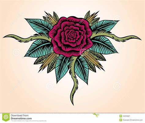 rose tattoo style illustration de vecteur image 44233321