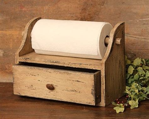 wooden paper towel holder with shelf country primitive rustic distressed wood paper towel