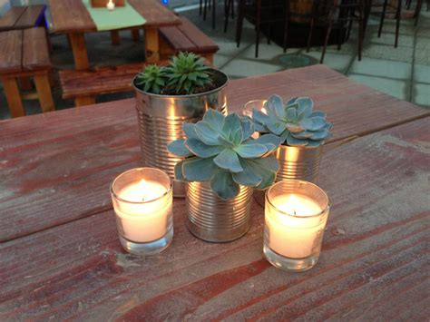 Home Decor Branches encore centerpiece small in succulents in tin cans