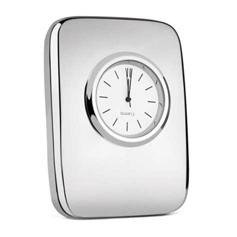 engraved silver plated desktop clock business