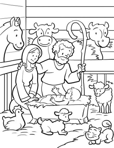 nativity scene coloring page all things christmas